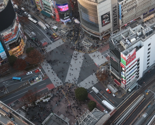 Shibuya Scrabmle Crossing View from Shibuya Sky