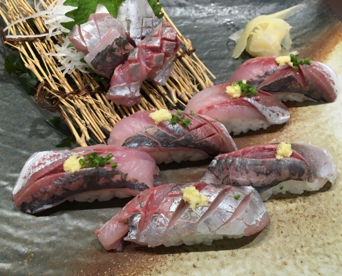 Nigiri Sushi with Horse Mackerel