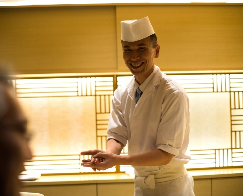 Japanese Sushi Chef with Ohitsu