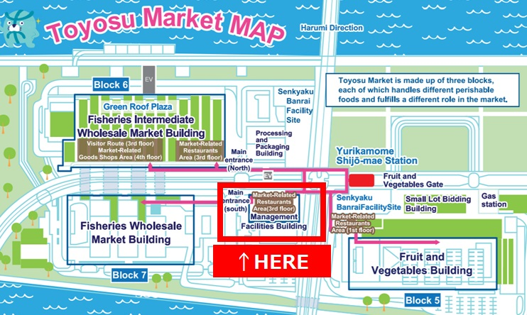 How to go to Toyosu Market by a taxi in English